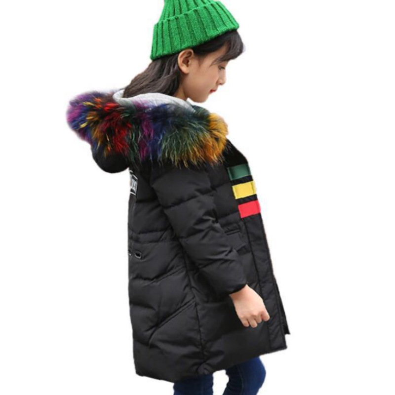 Girls Winter Thicken Down Parkas Boys Warm Fleece Thick Fur Hooded Long Outerwear Teenagers Casual Patchwork Down Jacket AA51895 2015 new hot winter thicken warm woman down jacket coat parkas outerwear hooded splice mid long plus size 3xxxl luxury cold