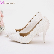 2016 Hot Selling Wedding Shoes Lace Flower Platform Bridal Formal Dress Shoes Women Pumps Birthday Party Dance High Heels
