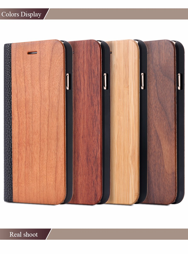 Vintage Genuine Bamboo Wood Flip Leathe Case For iPhone 6 6S Plus Real Rosewood Wooden Wallet Cover For iPhone 7 7 Plus Card Slot (8)
