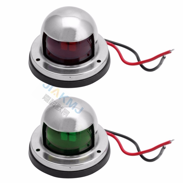 High quality One 1 Pair Stainless Steel 12V LED Bow Navigation Light Red Green Sailing Signal Light for Marine
