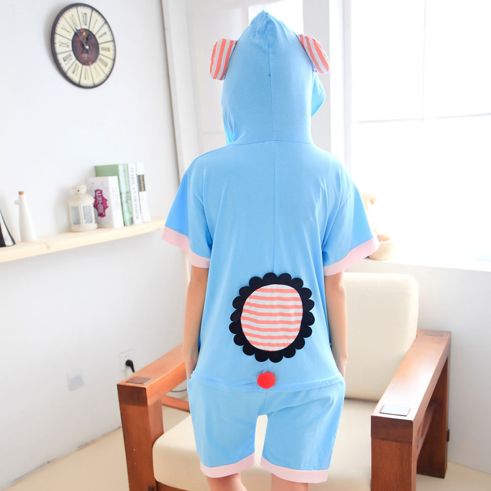 c562bab17d FLEAP Summer Women Sky Blue Cute Elephant Girls Onesies Pajamas Short  Sleeve Round Neck Character Sleep Clothes Pajamas on Aliexpress.com