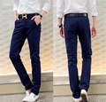Men New Fashion Style Casual Pants Zipper Fly Straight Jeans Mid Cotton Slim Pant Trouser for Men
