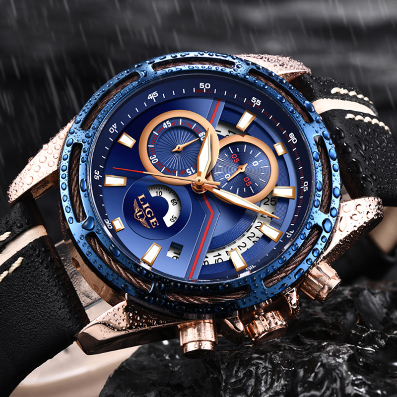 LIGE Watch Men Sport Quartz Fashion Leather Clock Mens Watches Top Brand Luxury Waterproof Business Watch Man Relogio Masculino chenxi men quartz wristwatches luxury brand man golden business fashion watch mens shell dial clock dress relogio masculino