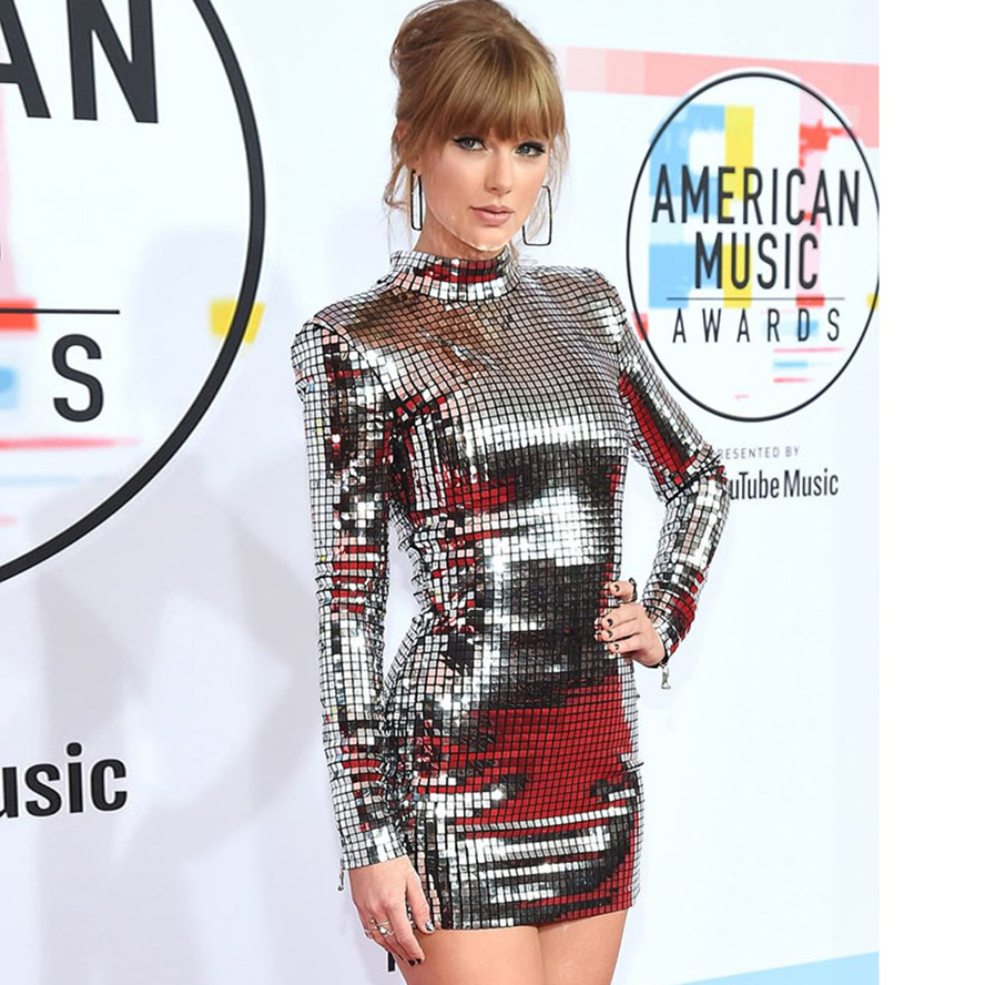 2019 fashion women's sexy silver sequin dress