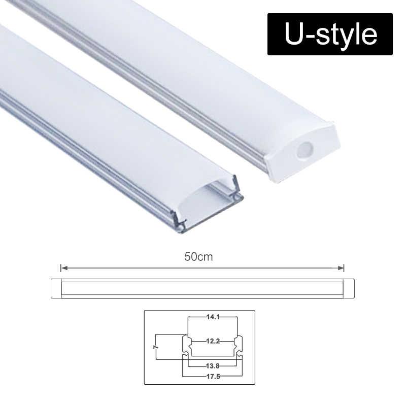 CLAITE Новый U V YW три стиля 50 см алюминиевый профиль для светодиодной ленты для Светодиодный полосатый свет для бара комнатный светильник кухня 1,8 см в ширину