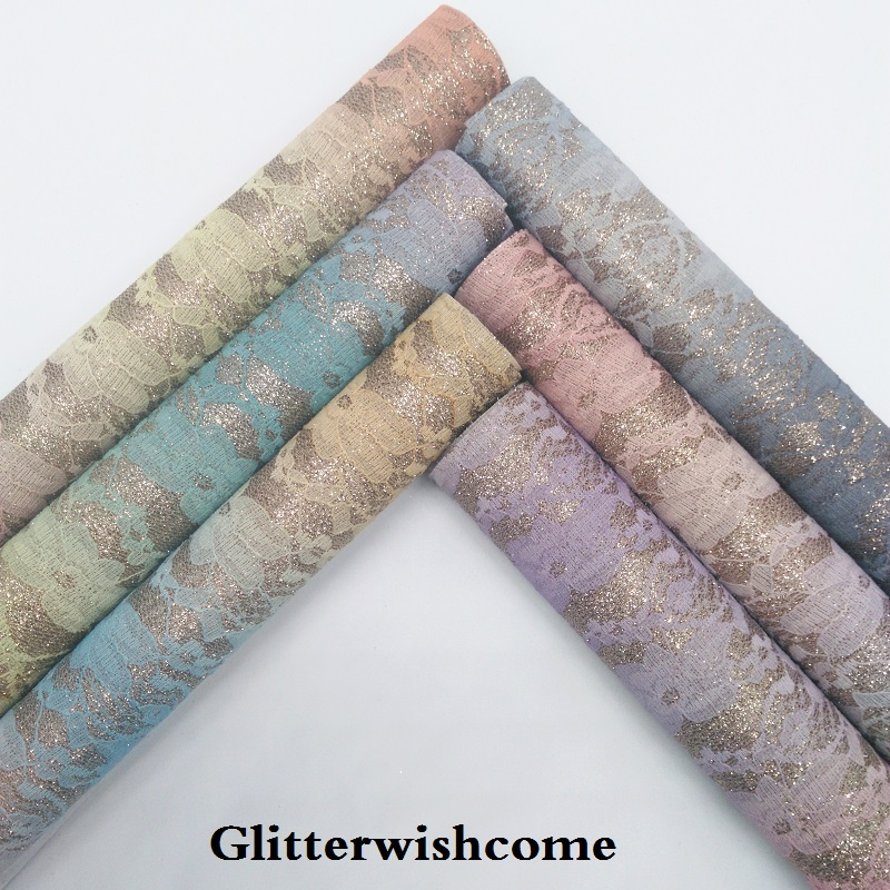 Glitterwishcome 21X29CM A4 Size Vinyl For Bows Rainbow Lace Glitter Leather Fabirc Faux Leather Sheets For Bows, GM260A