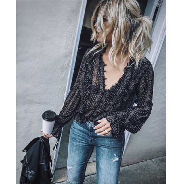 Casual Long Sleeve V-Neck Striped Blouses 3