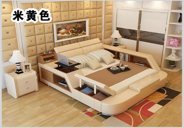 Genuine Leather Bed Frame w/ Storage  4