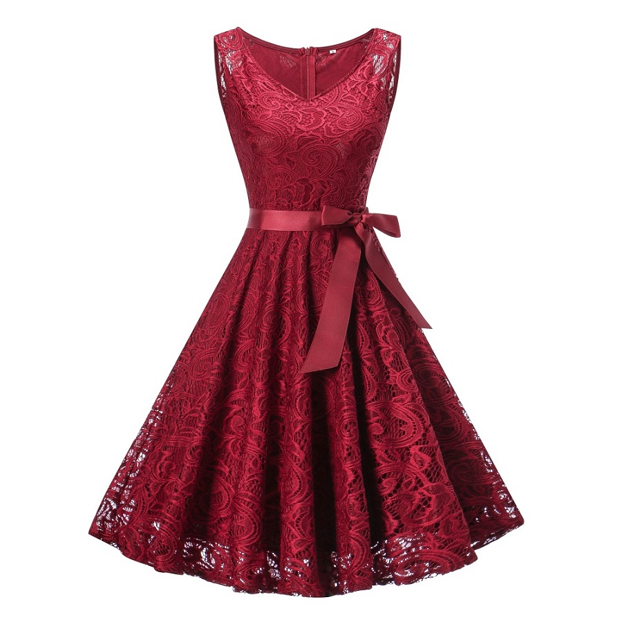 15-20Yrs Teenagers Girls Dress For Christmas Party Dress Wear High quality Sleeveless Lace V Neck Girls Clothing For Summer 1
