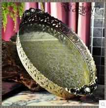34.5×20.5 см овальный тиснением бронзовый/серебряный металлический поднос лоток для хранения фрукты отель ресторан украшения дома FT041