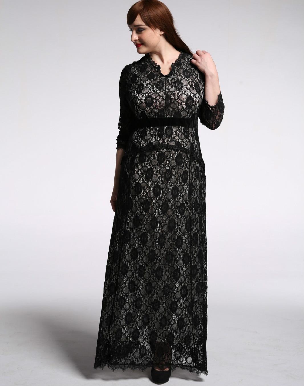 Plus Robes Party 6xl Elegant Maxi Dress Lace Winter Cm376 Woman 2018 5xl Dresses Size Long Lady Autumn Female Black Tuhao aq7vpW
