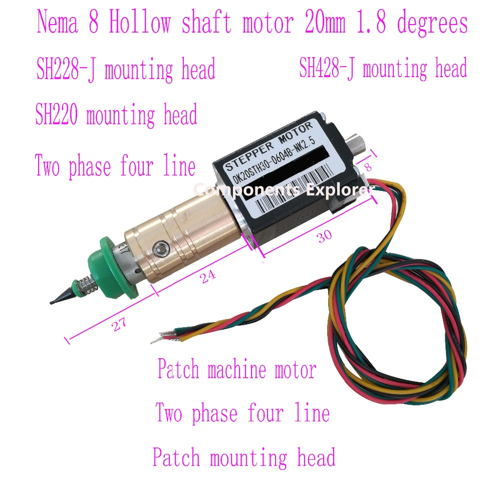 цены Nema8 hollow shaft SMT Stepper Motors,Hybird 2 phase 0.8A 1.8 4 wire,length 30mm for SMT Machanie OK20STH30-0604B-NK2.5-12