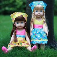 35cm Vinyl Reborn Dolls Toys For Children Handmade Yellow Blue Clothes Cute Baby Alive Newborn Princess