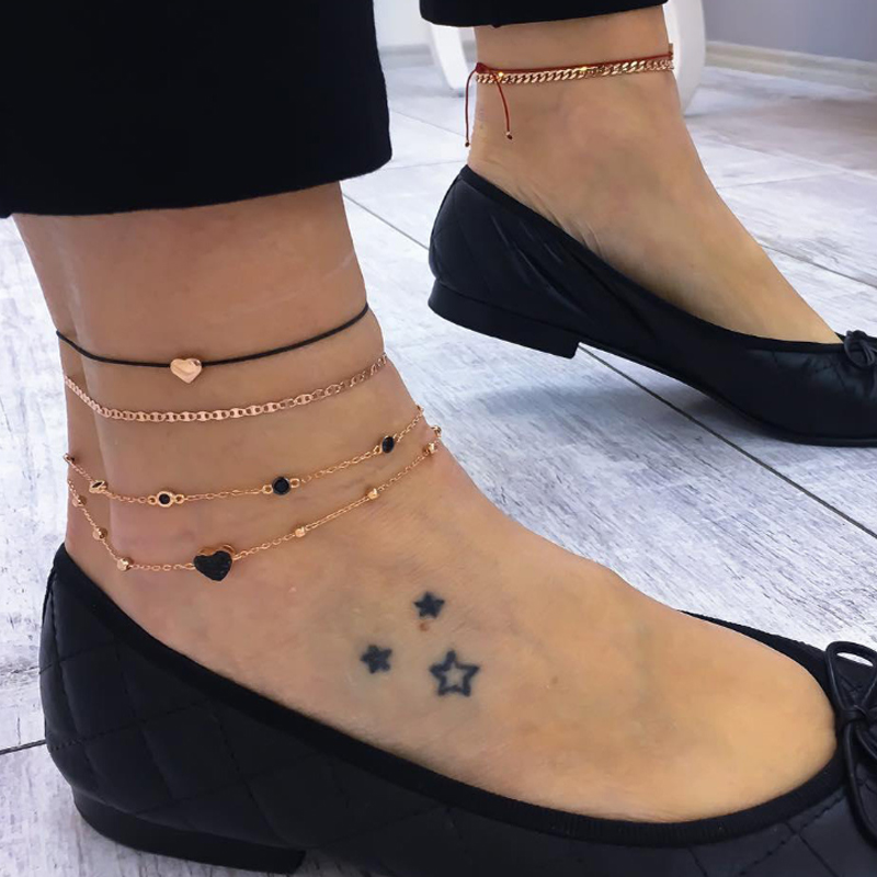 2019 NEW Anklet For Woman Simple Heart Female Anklets Barefoot On Foot Ankle Bracelets For Women Leg Multilayer  Chain