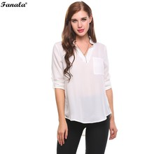 FANALA Summer Blouse Shirt V-Neck Long Sleeve Solid Pullover Circular Arc Hem Chiffon womens Shirt chaleco mujer femme #20-25