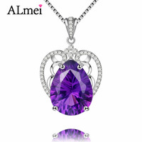 Gemlove Amethyst Long Necklace 925 Sterling Silver Necklaces Pendants For Women Collares Mujer With Chain Jewelry
