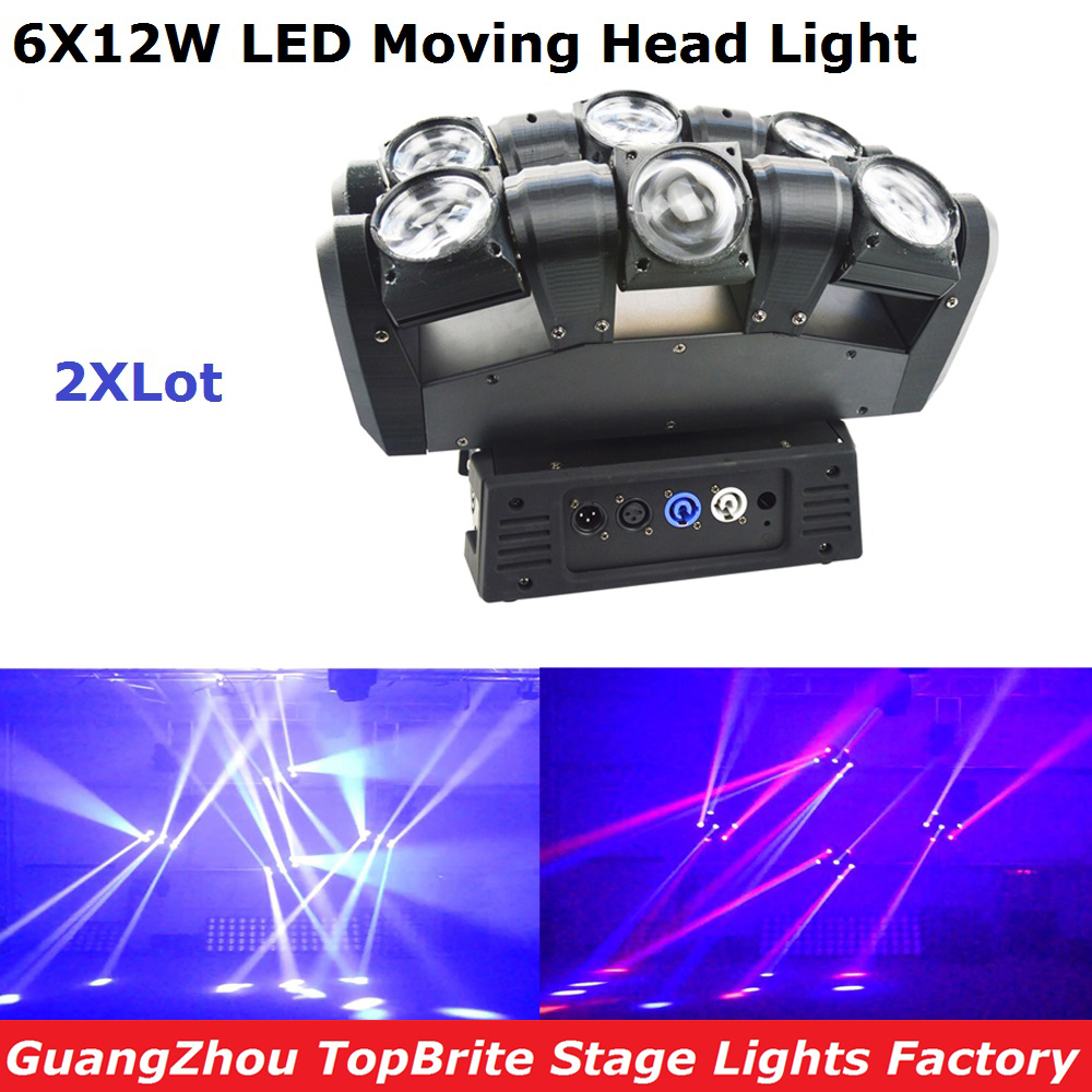 2Pcs/Lot Factory Price NEW 108W 6 Heads LED Moving Head Light 6X12W RGBW 4IN1 Beam Light For Stage Dj Disco Laser Lights