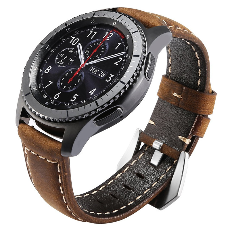 Strap 46mm-Band Classic Crazy-Horse Galaxy Watch Samsung Gear Vintage S3 Frontier Genuine-Leather