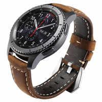 Do Samsung Galaxy Watch 46mm pasek 22mm Premium Vintage szalony koń prawdziwy skórzany pasek do Samsung Gear S3 Frontier Classic
