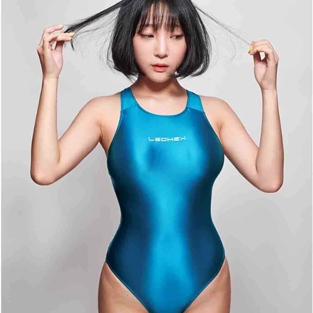 LEOHEX 2019 Sexy Leotards Satin Glossy Bodysuit High Cut One Piece Suit Female Bather Bathing Summer Suit Swimwear