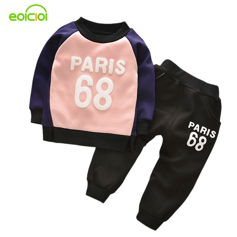 EOICIOI autumn winter thicken warm numbers letters printed girls clothing sets 2pcs sport suits hoodies+pants kids clothes numbers 1 2 3