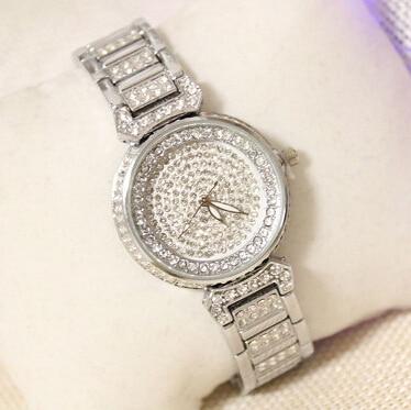 Brand Diamond Silver women rhinestone watches female steel women quartz bling dress watch for ladies bracelet