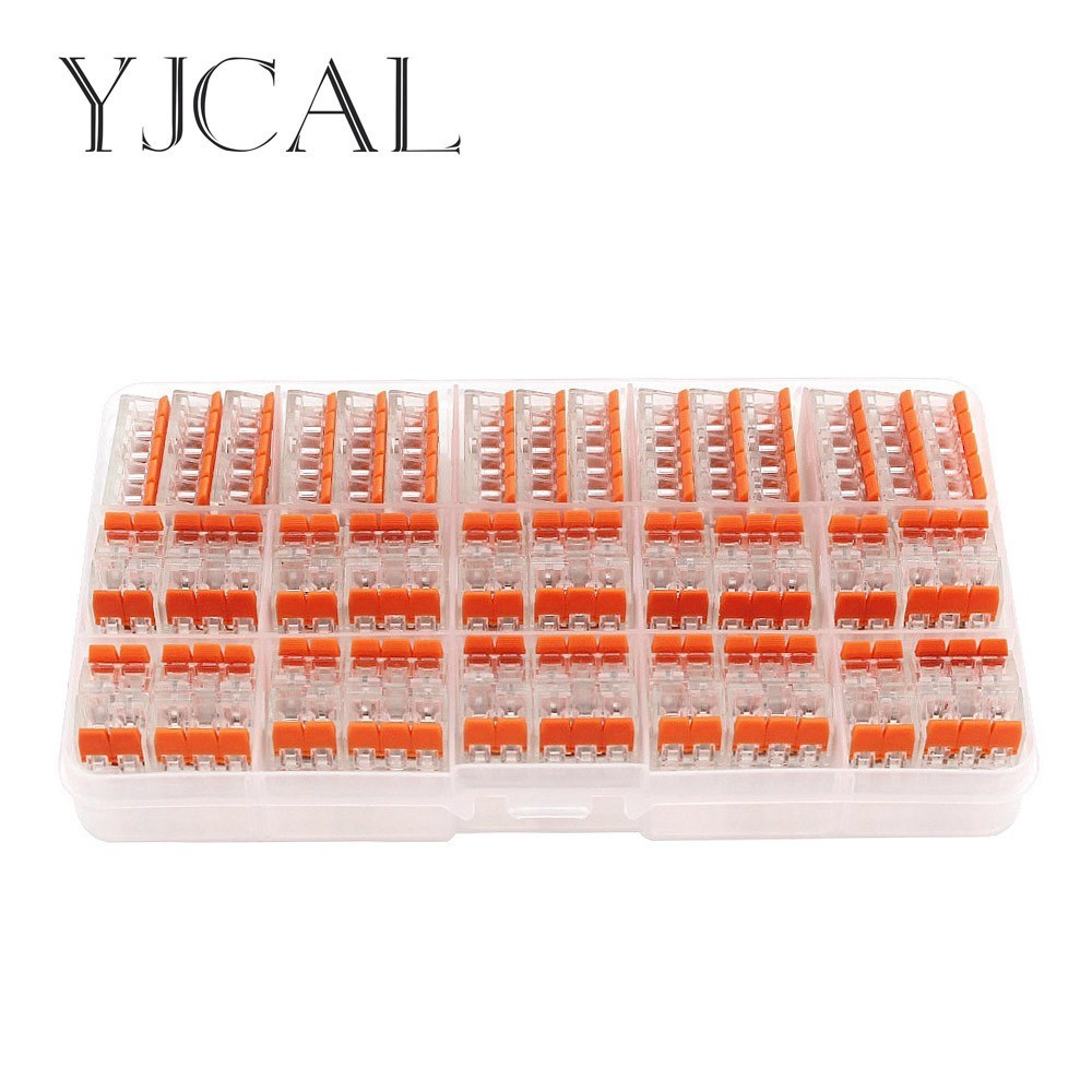 WAGO 221- 412 413 415 55PCS/BOX Wire Butt Joint Connector Connector Clip Fast Insulation Terminal Block AWG 28-12 50pcs wago electric cable connector 3 way reusable original wago 221 413 transparent wire terminals