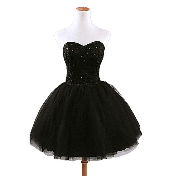 Cheap Short Elegant Black Sleeveless Off Shoulder Princess Puffy