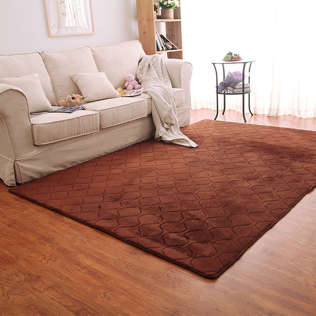 Washable Plain Solid Color Flannel Memory Foam Rug Carpet Living Room Soft  Bedroom Geometric Large Area