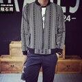 Fashion Street Fashion Mens Jacket Black Mens Slim Fit Stripe Baseball Jacket