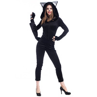 Winter Black Cat Halloween Costumes Women Adult Unisex Pajamas Animal Jumpsuit With Hooded Cosplay Disfraces Adultos