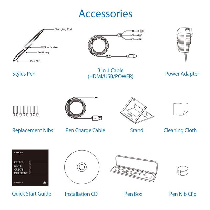 HUION KAMVAS GT-156HD V2 stylo moniteur d'affichage 15.6 pouces graphique numérique dessin tablette moniteur avec 8192 niveaux et cadeaux gratuits - 6