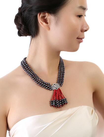 Collier trois brins 6.5-7.5mm naturel noir perle d'eau douce rouge corail 19 19.5 20 pouces