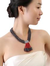 Three-Strand 6.5-7.5mm Natural black Freshwater Pearl red coral Necklace 19 19.5  20inch