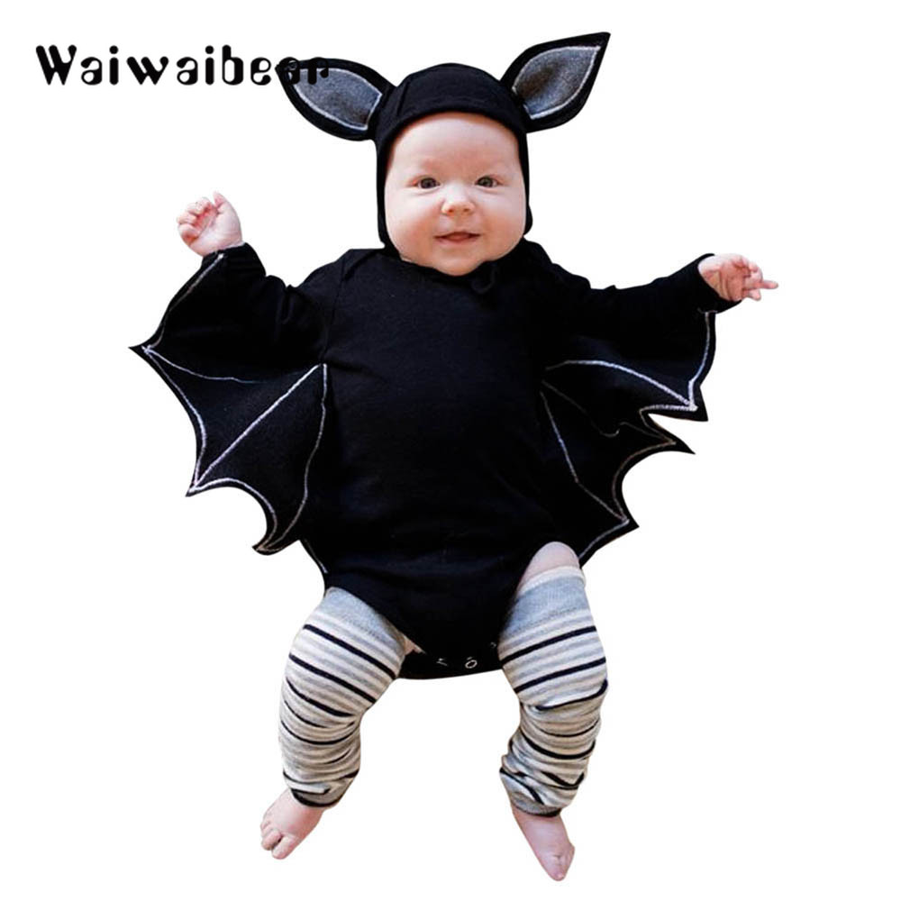 Novelty Baby's Romper Toddler Newborn Baby Boys Girls Halloween Cosplay Costume Romper Hat Outfits Batwing Sleeve Baby Clothing baby halloween outfit genius romper photo props christmas costume toddler hoodies clothing for babies