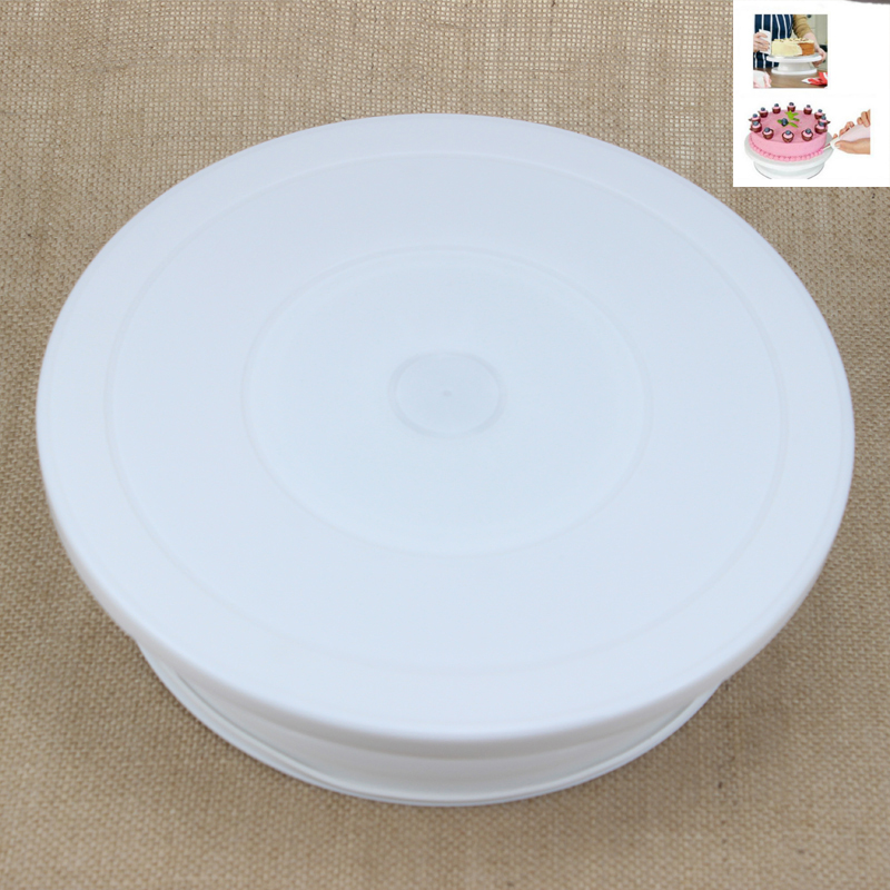 BEEMSK  28cm Plastic Cake Turntable Rotating Decorating Anti-skid Round Stand Rotary Table
