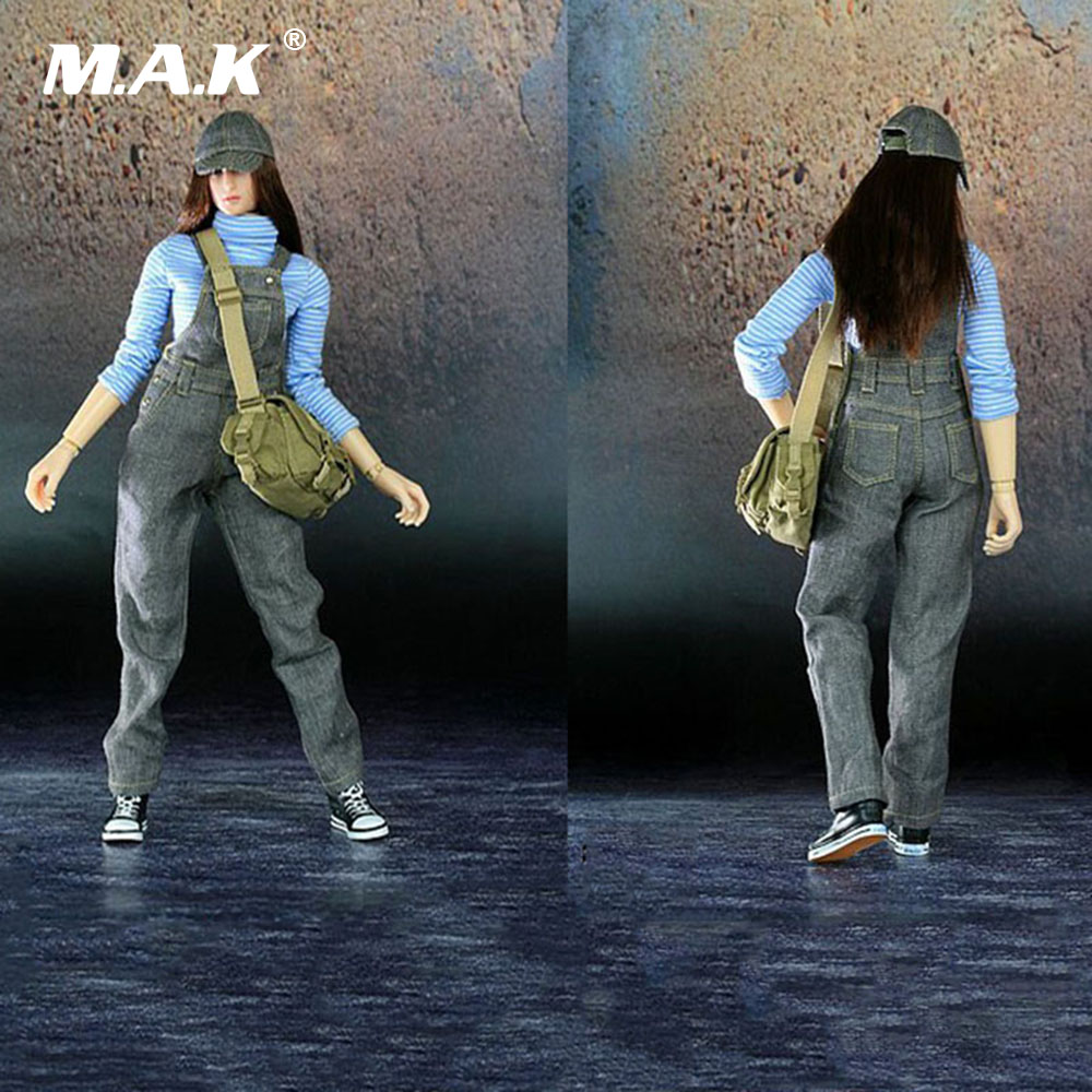 1:6 Scale Female Action Figure Clothes Belt Pants & Striped Shirt &Canavas Shoes & Backpack & Hat Set for 12 inches Body Figure new sexy vs045 1 6 black and white striped sweather stockings shoes clothing set for 12 female bodys dolls