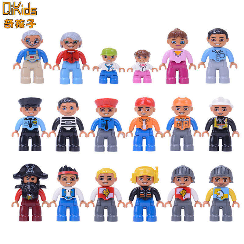 6pcs/lot Big Size Building Blocks Character Compatible Brand Duploed Family Worker Figure Toys For Children Gifts Kids Toys