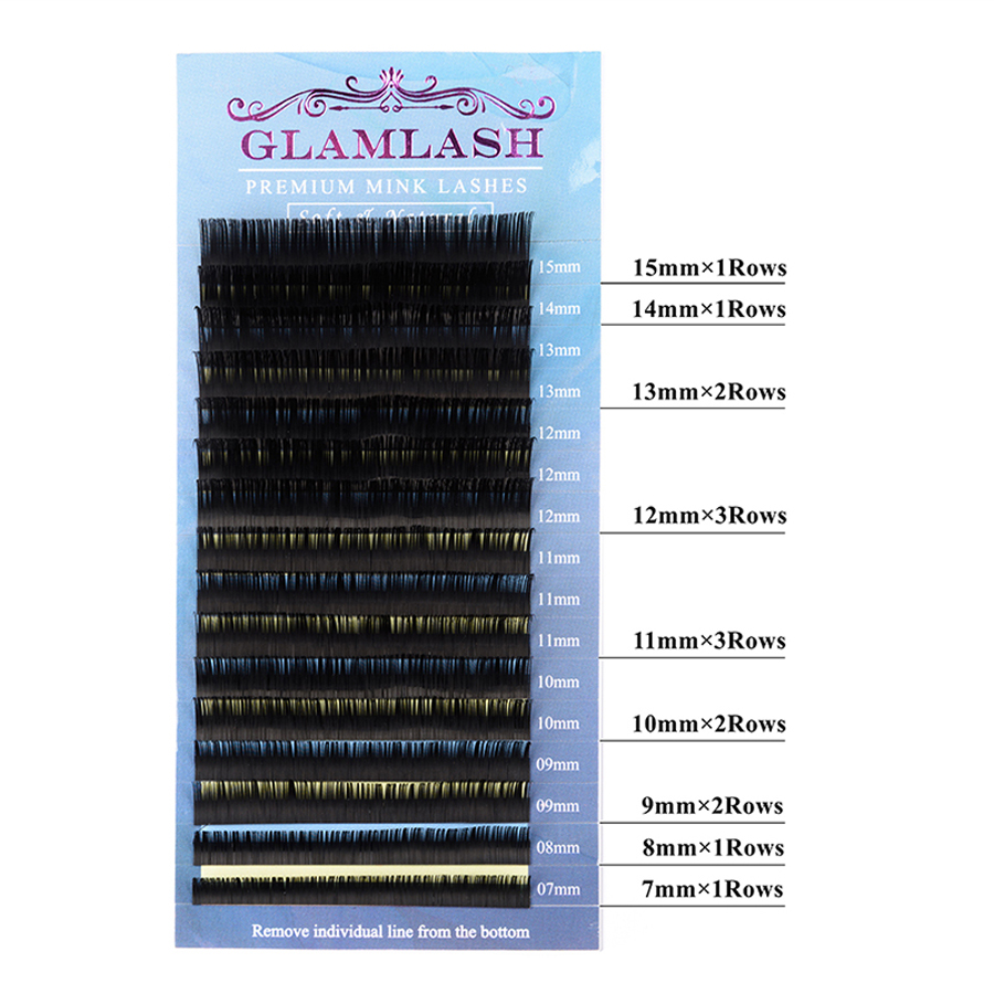 GLAMLASH Mixed Length False Lashes Individual Eyelash Extension Fake Mink Lashes Makeup in False Eyelashes from Beauty Health