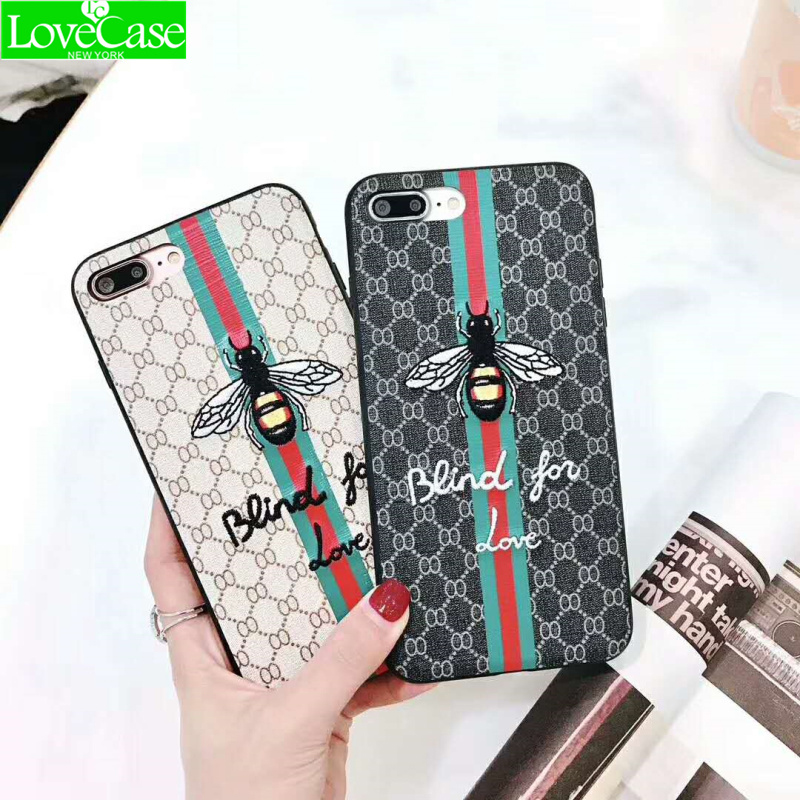 LoveCase Luxury 3D Bees Embroidery Leather hard for iPhone7 mobile phone back cover For  iPhone 6 6S 7 8 Plus phone case coque