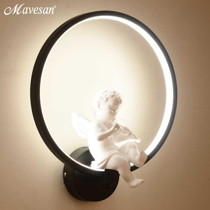 Хит продаж Настенные светильники в помещении черно-белое настенное освещение минималистичное искусство бра интерьер с ангелом украшение дома стены