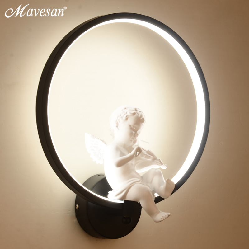 Image 4 - Hot selling  Wall Lamps indoor black white wall lighting Minimalist art Sconce Interior with angel Home Decoration wall-in LED Indoor Wall Lamps from Lights & Lighting