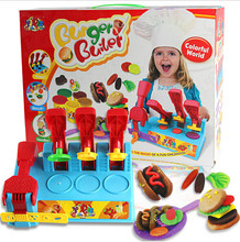 Большой размер Творческий Играть Тесто игрушка 8 цветов DIY 3D грязи Пластилина экструзионные машины, прессформы гамбургер handgum игрушки детей