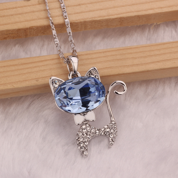 2 colors 925 Sterling silver famous brand blue lovely cat crystal pendant blue simple party necklace