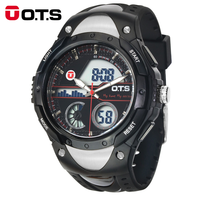 O.T.S Brand 2016 New Men Chronograph Army Sport Digital Swimming Watches Analog Dual Time Alarm Date Gift Watch Original Design