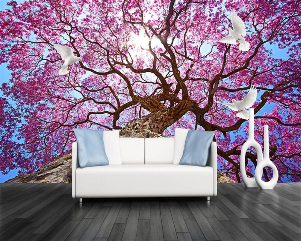 beibehang Custom Wallpaper Home Decorative Mural Aesthetic Tree Romantic Field TV Background Wall 3d wallpaper papel de parede