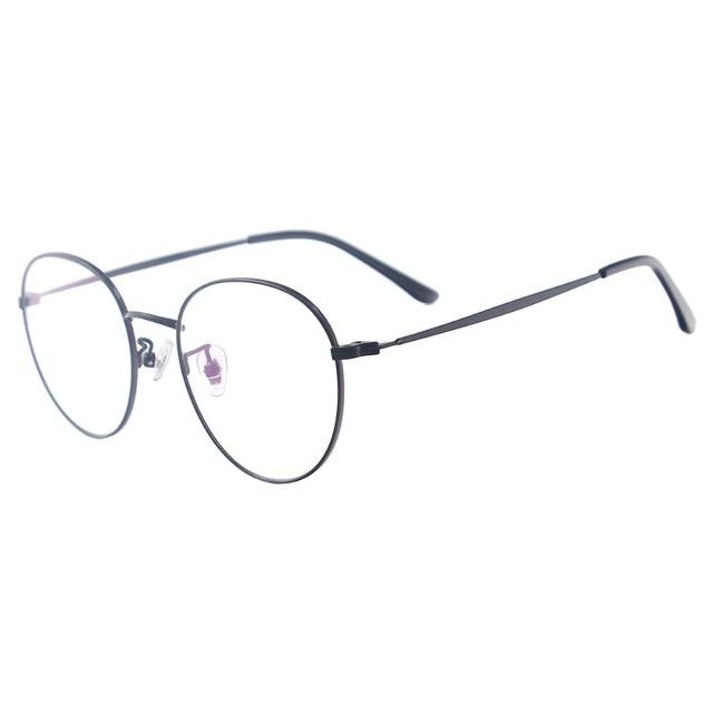 Men and Women Metal Small Vintage Prescription Eyewear Frame Black Round Glasses For Multifocal Myopia Reading Lenses
