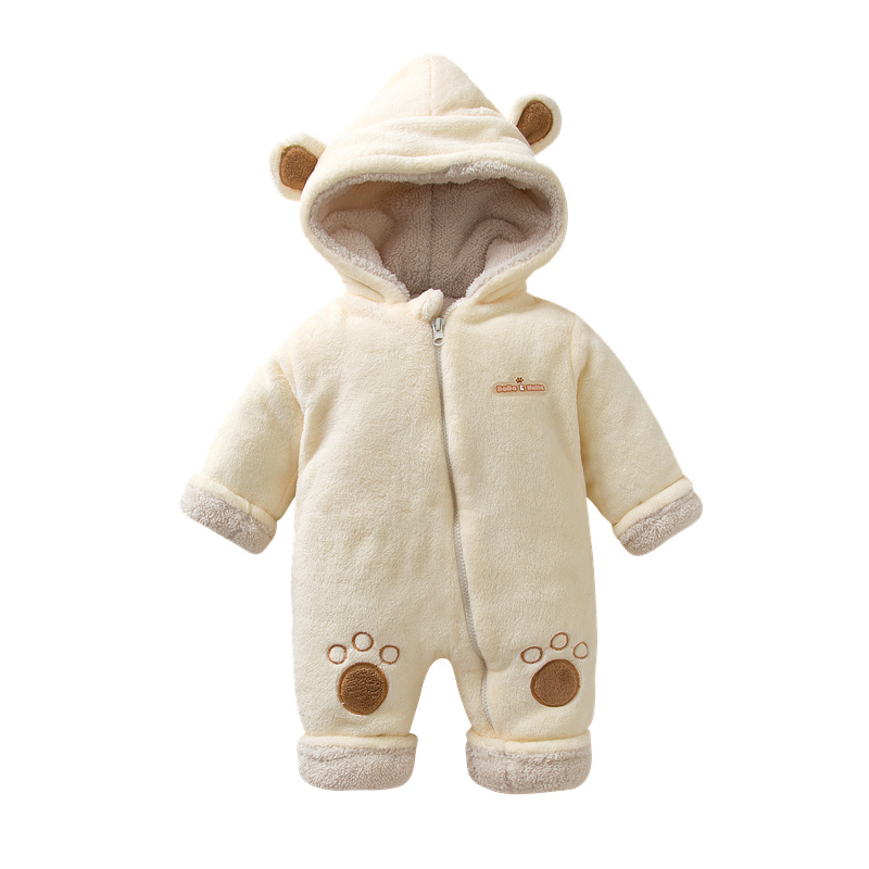 2018 Baby Boy Girl Winter 6-24M Velvet Thicken Embroidery Little Bear Romper Hooded Clothes Polar Fleece Infant Romper Clothes summer 2017 baby kids girl boy infant summer sleeveless romper harlan jumpsuit clothes outfits 0 24m