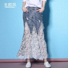 2017 spring and summer denim skirt women's hole patchwork white lace skirt cutout design lady's denim long bust skirt female