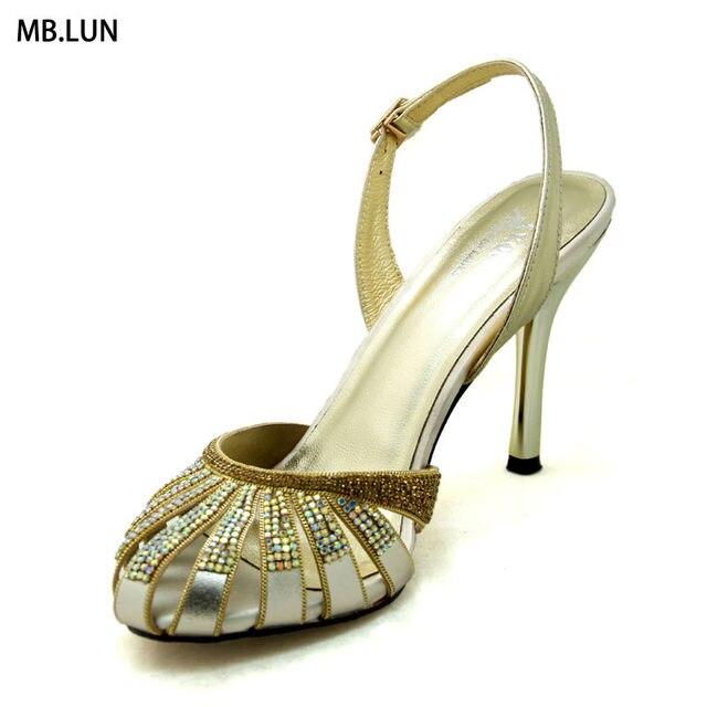 Brand High Heel Sexy Sandals Women Summer Rhinestone Shoes 2017 Designer Leather Party Wedding Design